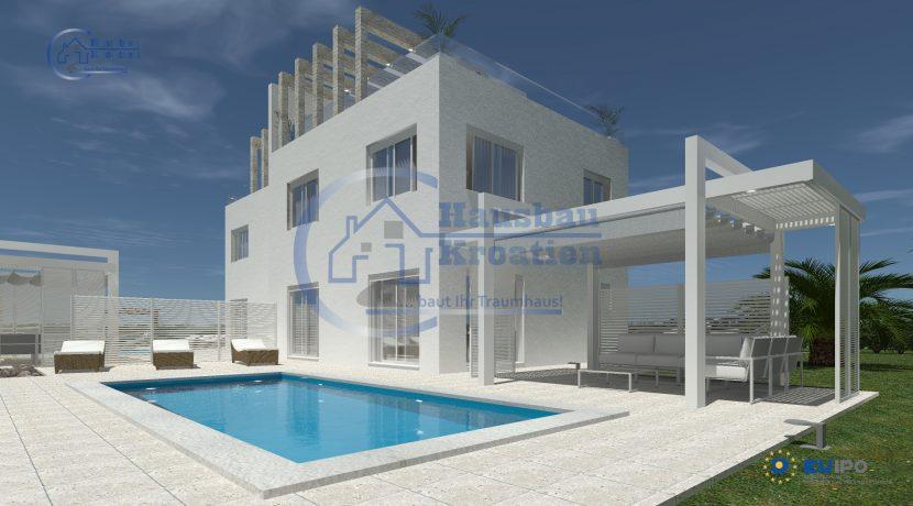 Hausbau Kroatien Doppelhaus Rosa (1)